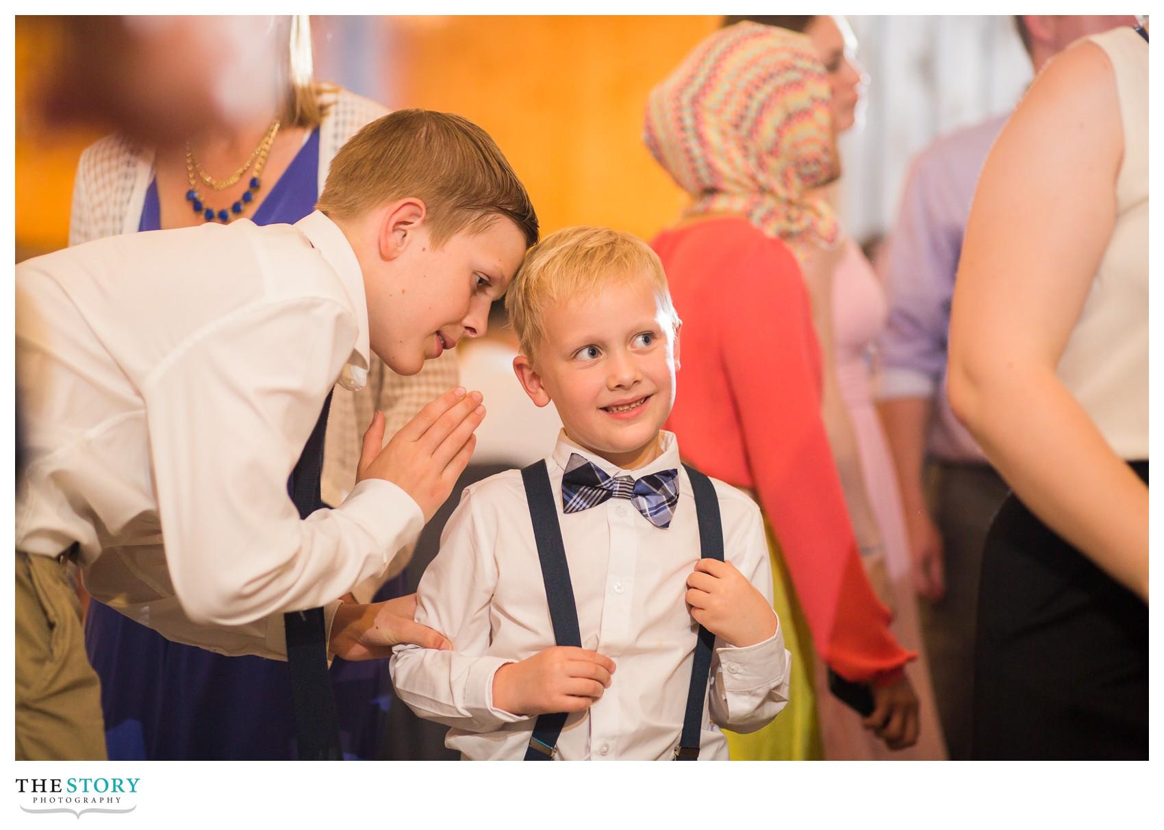 little boys at Wolf Oak Acres wedding