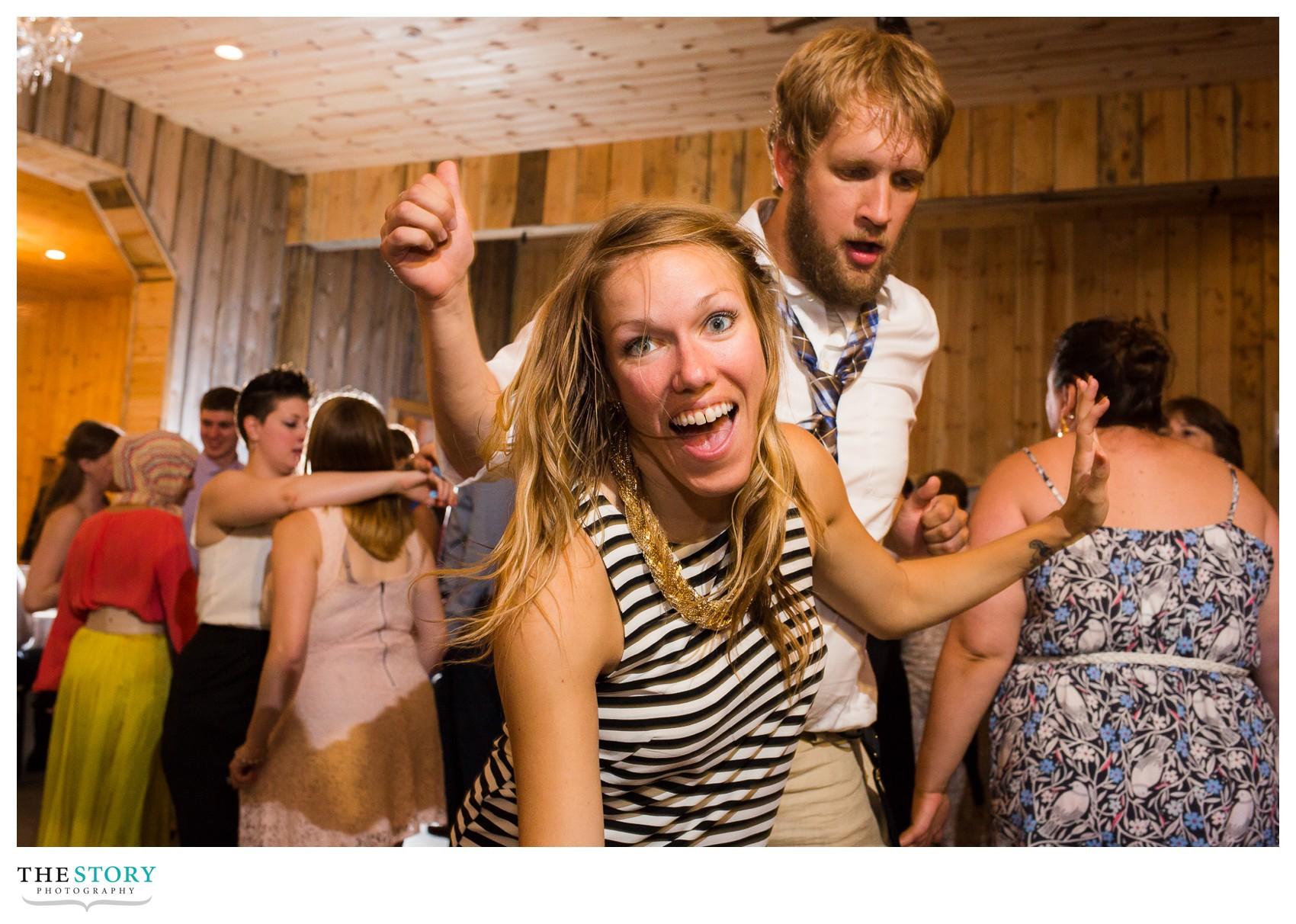 wedding guests party at NY barn wedding